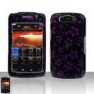 Blackberry Storm II 9550 Purple Flowers Cover Case Snap on Protector + LCD Screen Guard