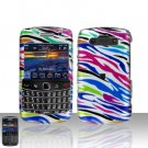 Blackberry Bold 9700 Onyx Rainbow Zebra Cover Case Snap on Protector + Car Charger