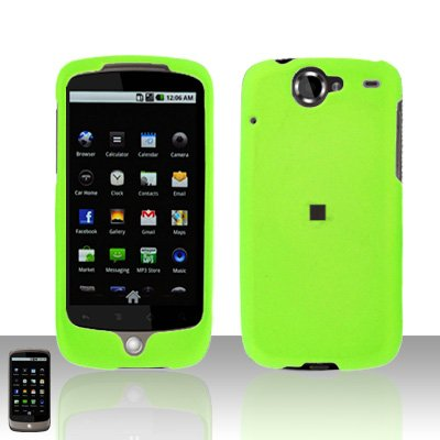 HTC Google Nexus One Neon Green Case Cover Snap on Protector + Car Charger