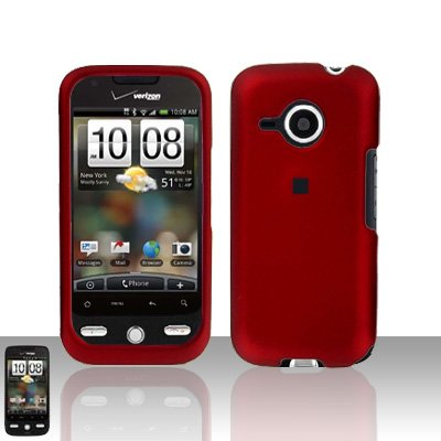 HTC Droid Eris S6200 Red Case Cover Snap on Protector + Screen Guard