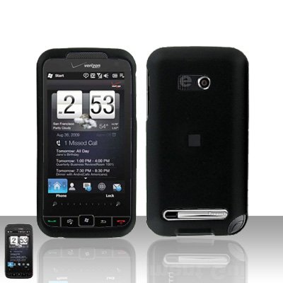 HTC Touch Diamond 2 CDMA Black Case Cover Snap on Protector + Car Charger