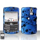 Blackberry Curve 8330 8300 Blue Skull Hard Case Snap on Cover