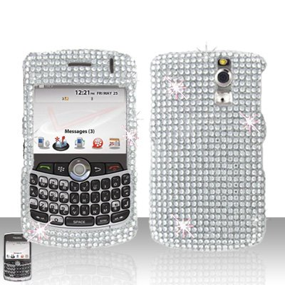 Blackberry Curve 8330 8300 Silver Full Diamond Case Snap on Cover