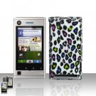 Colored Leopard Case Cover + LCD Screen Protector Guard for Motorola Devour A555