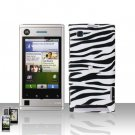 Zebra Case Cover Snap on Protector + Car Charger for Motorola Devour A555