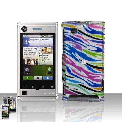 Rainbow Zebra Case Cover + LCD Screen Protector Guard for Motorola Devour A555
