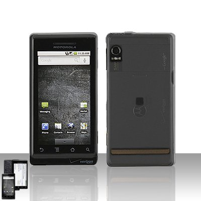 Transparent Smoke Cover Case + LCD Screen Protector for Motorola Droid A855