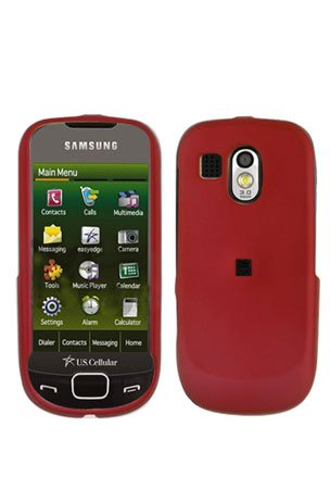 Red Cover Case Snap on Protector + Car Charger for Samsung Calibur R850