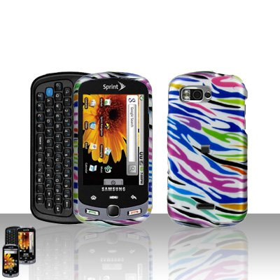 Rainbow Zebra Cover Case + LCD Screen Protector for Samsung Moment M900