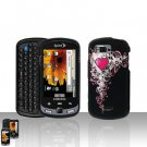 Heart Design Cover Case Snap on Protector + Car Charger for Samsung Moment M900