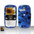 Blue Skulls Cover Case Snap on Protector + Car Charger for Samsung Freeform R350 R351