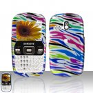 Rainbow Zebra Cover Case Snap on Protector + Car Charger for Samsung Freeform R350 R351