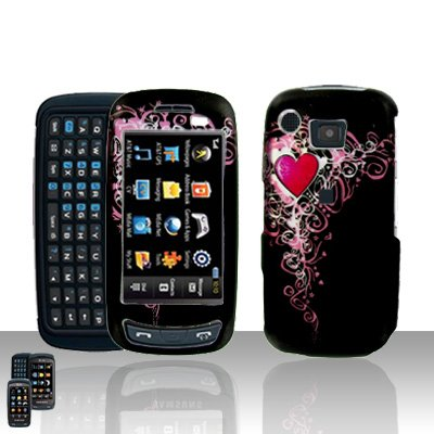 Hearts Cover Case Rubberized Snap on Protector + LCD Screen Cover for Samsung Impression A877