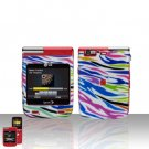 Rainbow Zebra Cover Case Snap on Protector + Car Charger for LG Lotus Elite LX610