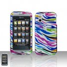 Rainbow Zebra Cover Case Snap on Protector + Car Charger for LG Arena GT950