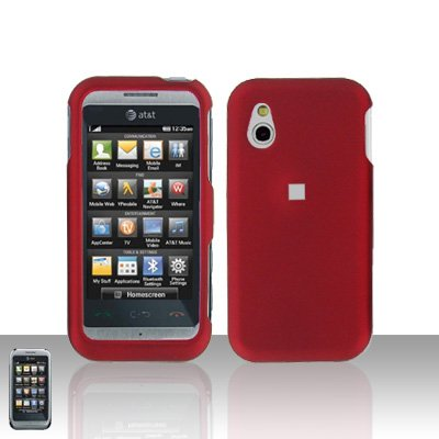 Red Cover Case Snap on Protector + Car Charger for LG Arena GT950