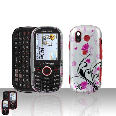 Pink Flowers Cover Case Snap on Protector + Car Charger for Samsung Intensity U450