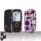 Purple Dots Cover Case Snap on Protector + Car Charger for Samsung Intensity U450