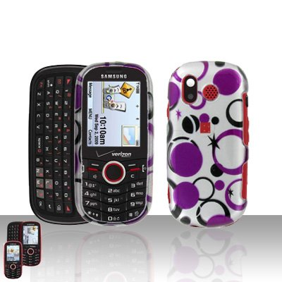 Purple Dots Snap on Cover Case + LCD Screen Guard Protector for Samsung Intensity U450