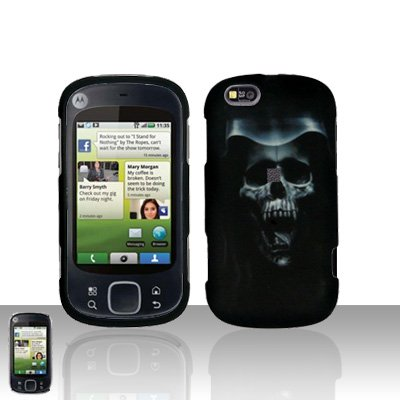 Hooded Skull Cover Case Snap on Protector for Motorola Cliq XT