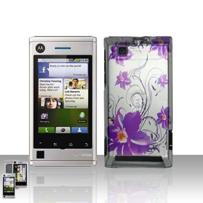 Purple Flower Cover Case Snap on Protector A 555 for Motorola Devour A555