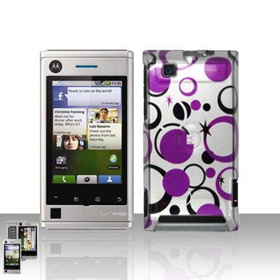 Purple Dots Stars Cover Case Snap on Protector for Motorola Devour A555