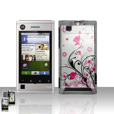 Pink Flowers Cover Case Snap on Protector for Motorola Devour A555