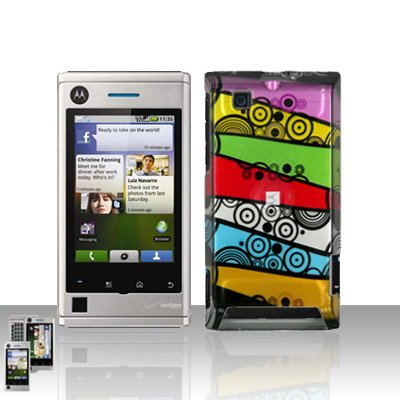 Colorful Stripes Cover Case Snap on Protector for Motorola Devour A555