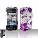 Purple Flowers Cover Case Snap on Protector + Car Charger for Motorola Cliq MB200