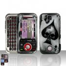 Spade Skull Cover Case Snap on Protector + Car Charger for Motorola Rival A455