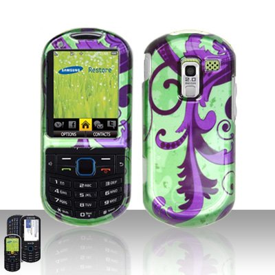 Purple Green Design Cover Case Snap on Protector for Samsung Exclaim 2 Restore M570