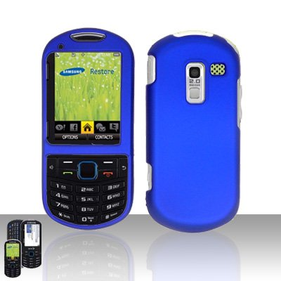 Blue Cover Case Snap on Protector for Samsung Exclaim 2 Restore M570