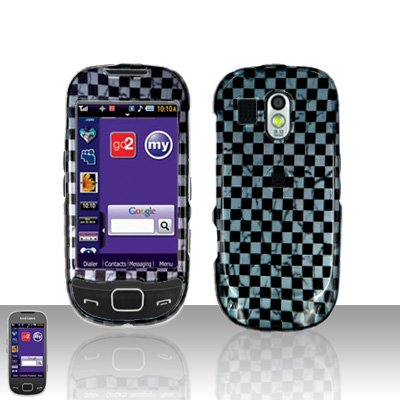 Grey Checkered Cover Case Snap on Protector for Samsung Calibur R850