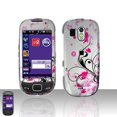 Pink Flowers Cover Case Snap on Protector for Samsung Calibur R850
