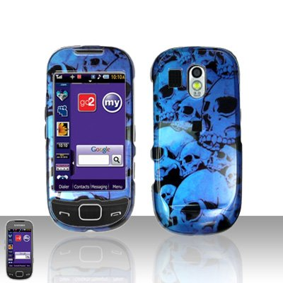 Blue Skulls Cover Case Snap on Protector for Samsung Calibur R850
