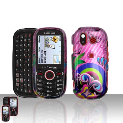 Pink Design Cover Case Snap on Protector for Samsung Intensity U450