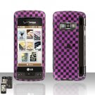 Pink Checkered Cover Case Snap on Protector for LG enV TOUCH VX11000
