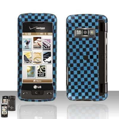 Blue Checkered Cover Case Snap on Protector for LG enV TOUCH VX11000