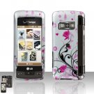 Pink Flowers Cover Case Snap on Protector for LG enV TOUCH VX11000