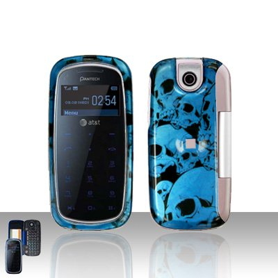 Pantech Impact P7000 Blue Skull Cover Case Snap on Protector P 7000