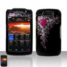 Blackberry Storm II 9550 Pretty Heart Cover Case Snap on Protector + LCD Screen Guard