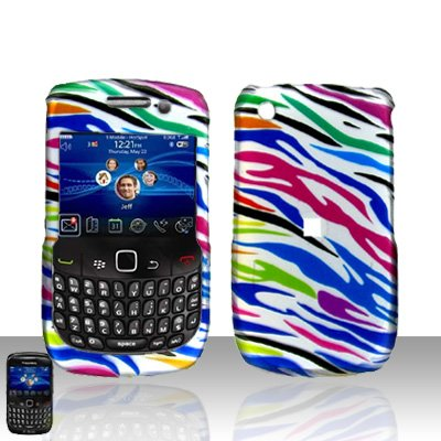 Blackberry Curve 8520 8530 Rainbow Zebra Cover Case Snap on Protector