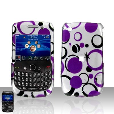 Blackberry Curve 8520 8530 Purple Dots Cover Case Snap on Protector