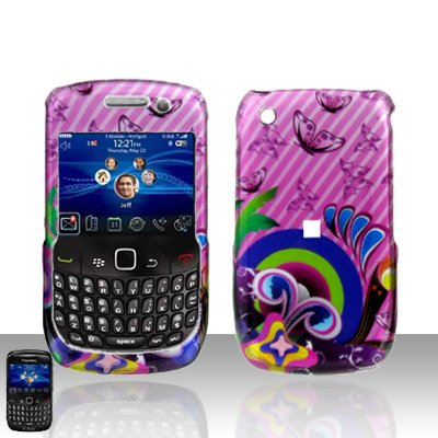 Blackberry Curve 8520 8530 Butterflies Pink Cover Case Snap on Protector