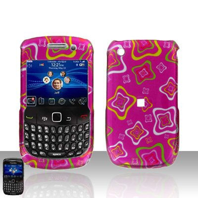 Blackberry Curve 8520 8530 Pink Squares Design Cover Case Snap on Protector