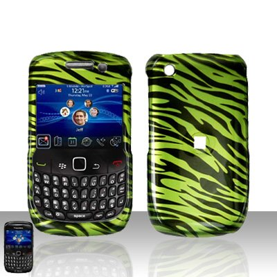 Blackberry Curve 8520 8530 Green Zebra Cover Case Snap on Protector