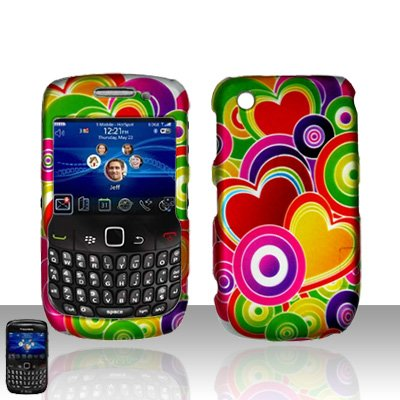 Blackberry Curve 8520 8530 Colorful Hearts Cover Case Snap on Protector