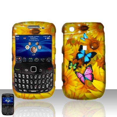 Blackberry Curve 8520 8530 Yellow Flowers Cover Case Snap on Protector