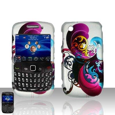 Blackberry Curve 8520 8530 Purple Swirl Design Cover Case Snap on Protector