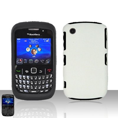 Blackberry Curve 8520 8530 White Double Protector Cover Case Silicone + Hard Snap on